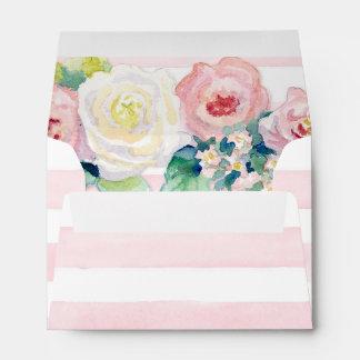 MODERN Chic Wide Stripes w Roses A6 Wedding Invite Envelopes