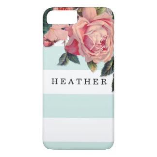 MODERN Chic Wide Stripes w Roses, Aqua Blue iPhone 7 Plus Case