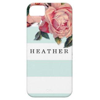 MODERN Chic Wide Stripes w Roses, Aqua Blue iPhone SE/5/5s Case