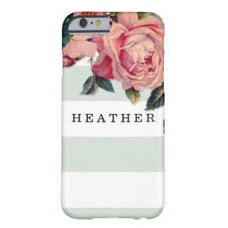 MODERN Chic Wide Stripes w Roses, Mint Green Barely There iPhone 6 Case