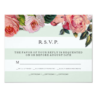 MODERN Chic Wide Stripes w Roses, Mint Green Card