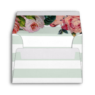 MODERN Chic Wide Stripes w Roses, Mint Green Envelope