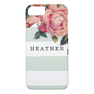 MODERN Chic Wide Stripes w Roses, Mint Green iPhone 7 Case