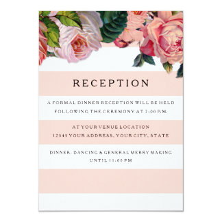 MODERN Chic Wide Stripes w Roses, Reception Invite