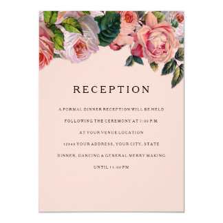MODERN Chic Wide Stripes w Roses, Reception Invite