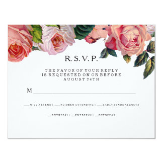 MODERN Chic Wide Stripes w Roses, RSVP Response Card