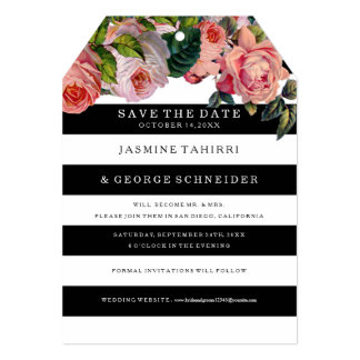 """MODERN Chic Wide Stripes w Roses, Save the Date 5"""" X 7"""" Invitation Card"""