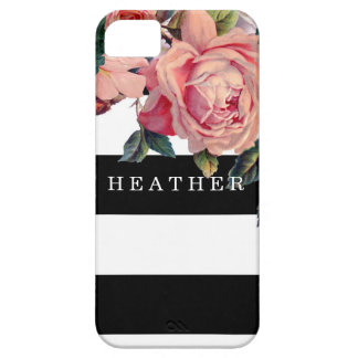 MODERN Chic Wide Stripes w Roses, Save the Date iPhone SE/5/5s Case