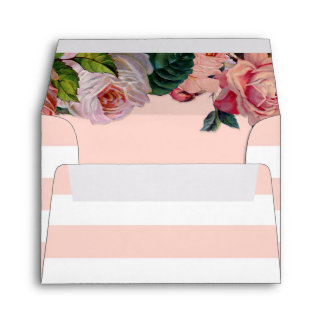 MODERN Chic Wide Stripes w Roses, Wedding Envelope
