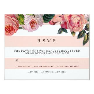 MODERN Chic Wide Stripes w Roses, Wedding RSVP Card