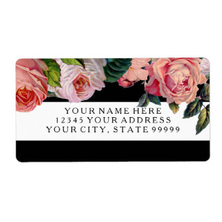 MODERN Chic Wide Stripes w Vintage Roses Floral Shipping Label