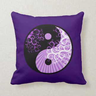 Modern Chic Yin-Yang Sunbeam Floral Tree Throw Pillow