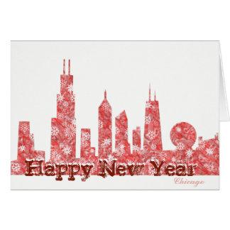 Modern Chicago Skyline  Happy New Year card