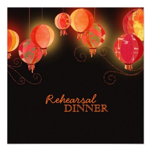 Modern Chinese Lanterns Wedding Rehearsal Dinner Invitations