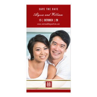 Modern Chinese Red Double Happiness Save The Date Customized Photo Card