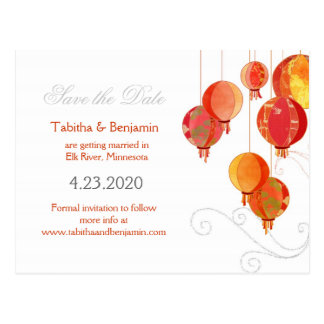 Modern Chinese Red Lanterns Wedding Save the Date Postcard