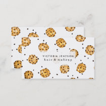 Modern chocolate chips cookies watercolor pattern business card