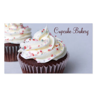 Modern Chocolate Cupcakes Sprinkle Frosting Business Card Template
