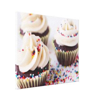 Modern Chocolate Cupcakes Sprinkle Frosting Canvas Print