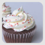 Modern Chocolate Cupcakes Sprinkle Frosting Square Sticker