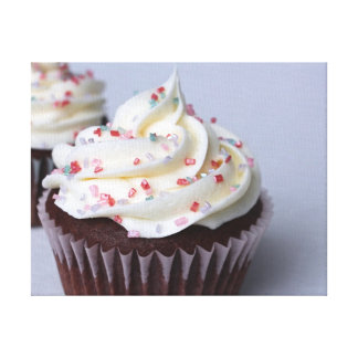 Modern Chocolate Cupcakes with Sprinkles Canvas Print