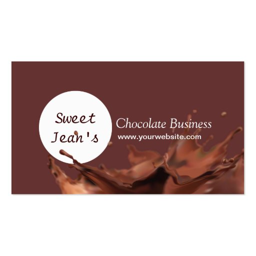 Modern Chocolate Splash Business Card (front side)