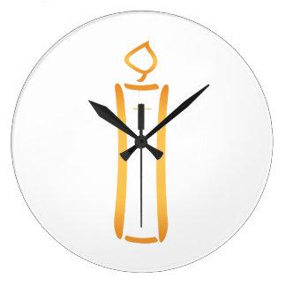 Modern Christian Candle Large Clock