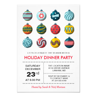 Modern Christmas Balls Celebration Holiday Party Card