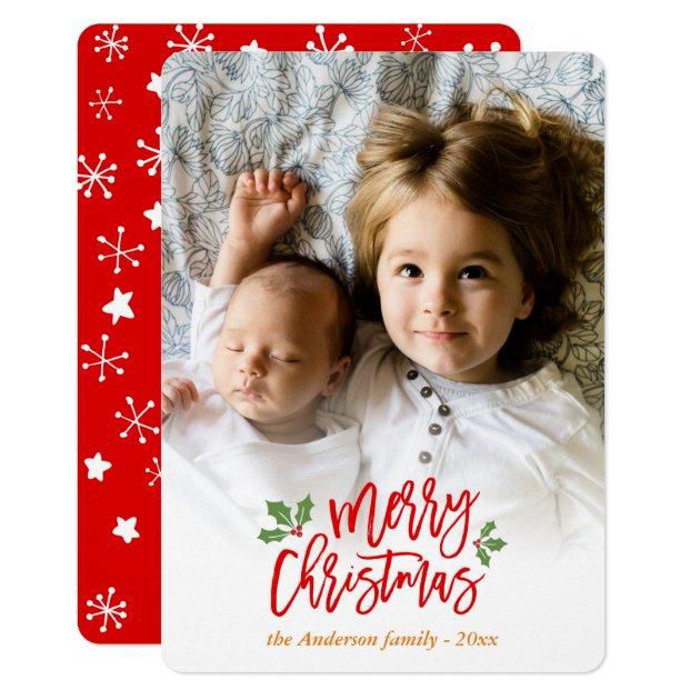 Modern Christmas Berries Snowflake Kids Photo Card