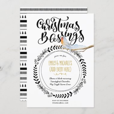 Modern Christmas Blessings Winter Party Event Invitation