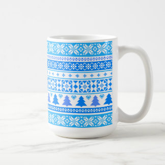 Modern Christmas Blue Snowflake Sweater Coffee Mug