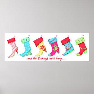 Modern Christmas Boot Stocking Art Poster