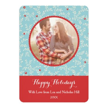 Christmas Themed Modern Christmas Branches Pattern Photo Card