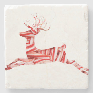Modern Christmas Candy Cane Reindeer Stone Coaster