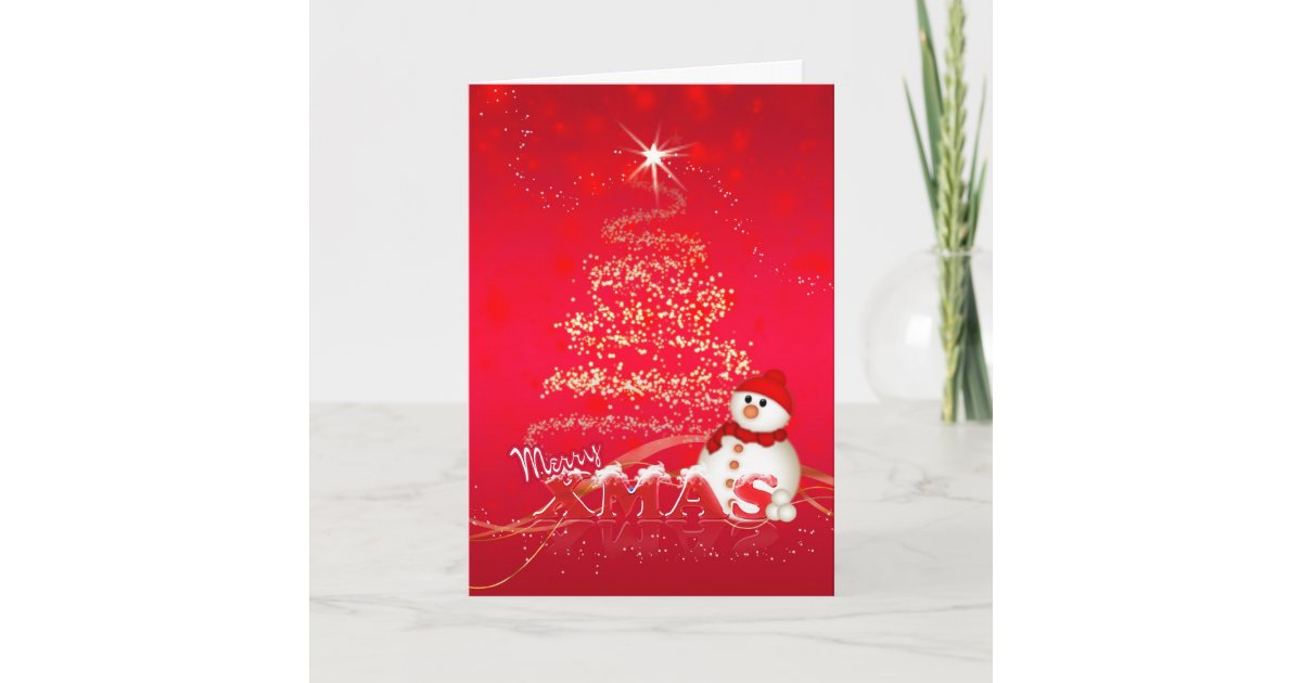 Modern Christmas Card With Snowman And Holiday Tre   Zazzle.com
