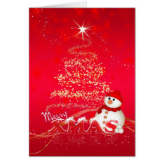 Modern Christmas Card With Snowman And Holiday Tre at Zazzle