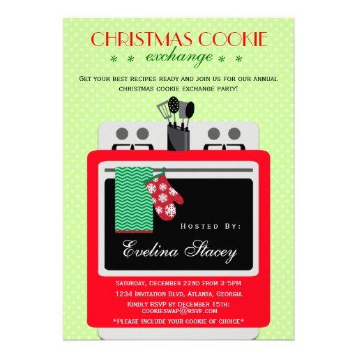 Modern Christmas Cookie Exchange Custom Invites