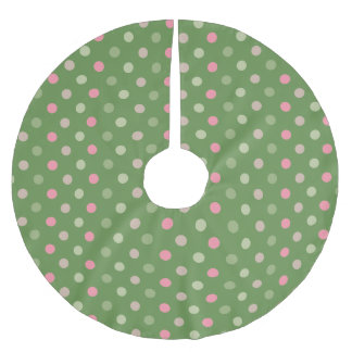 Modern Christmas Dots - Green Brushed Polyester Tree Skirt