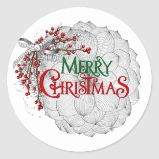 Modern Christmas Flower Sticker
