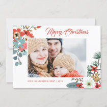 Modern Christmas Flowers Foliage Photo Holiday Card