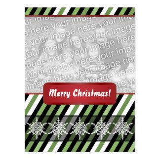 Modern Christmas Green Stripes Snowflakes Postcard