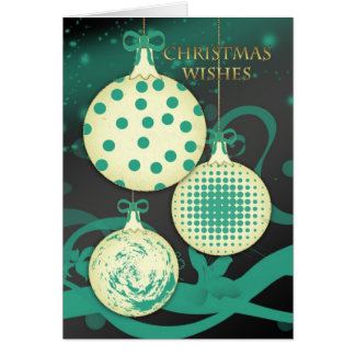 Modern Christmas Greeting Card With Three Ornament