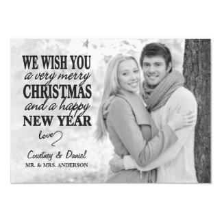 Modern Christmas Hand Lettered Full-Photo Overlay 4.5x6.25 Paper Invitation Card