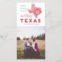 Modern Christmas Heart of Texas Photo Greeting Holiday Card