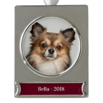 Modern Christmas Holiday Photo Name Year Silver Plated Banner Ornament