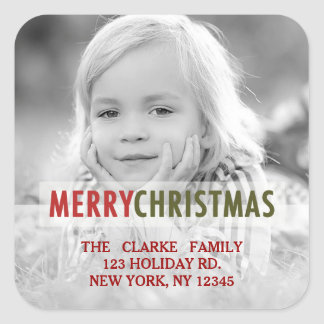 MODERN CHRISTMAS | HOLIDAY PHOTO RETURN ADDRESS SQUARE STICKERS