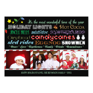 Modern Christmas Holiday Subway Art Photo Card