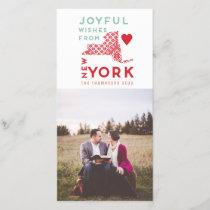 Modern Christmas Joyful wishes from New York Photo Holiday Card