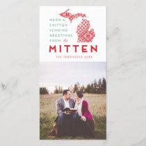 Modern Christmas Michigan Mitten Photo Greeting Holiday Card