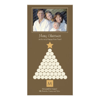 Modern Christmas Monogram Photo Card - Brown